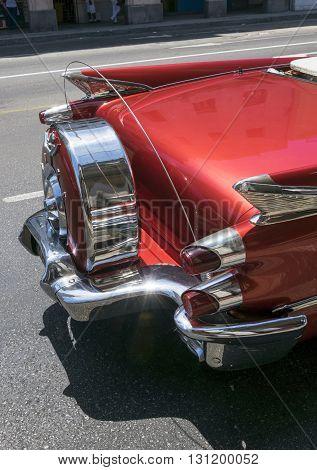 Havana, Cuba - June 23, 2015: Detail of a perfectly restored american classic car