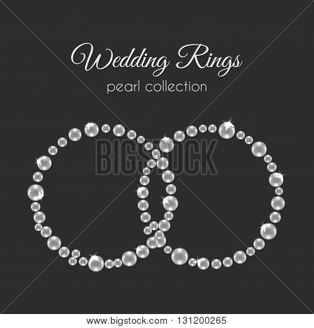 Pearl rings. Vector frame in circle shape. White pearls design with sparkles. Decorative wedding frame. Wedding rings.