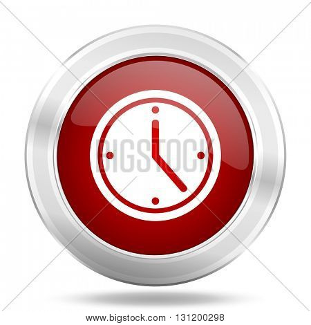 time icon, red round metallic glossy button, web and mobile app design illustration