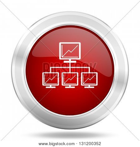 network icon, red round metallic glossy button, web and mobile app design illustration