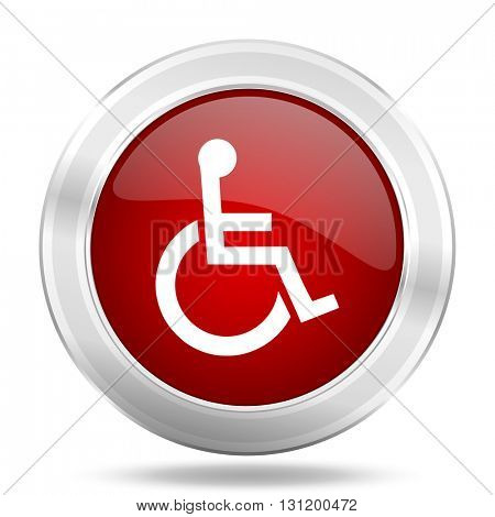 wheelchair icon, red round metallic glossy button, web and mobile app design illustration