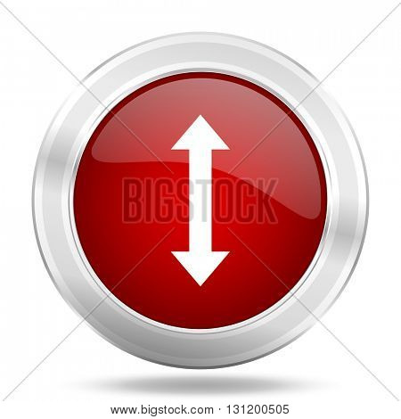 arrow icon, red round metallic glossy button, web and mobile app design illustration