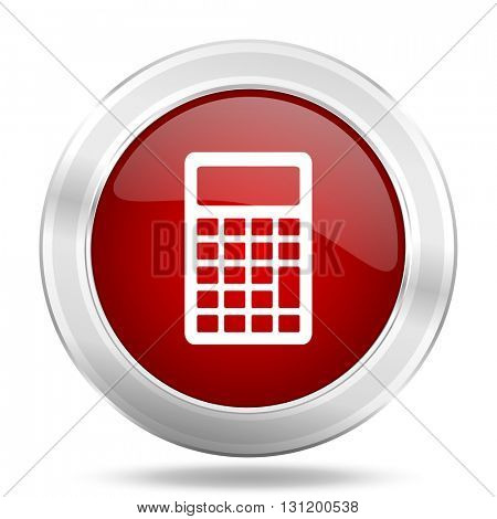 calculator icon, red round metallic glossy button, web and mobile app design illustration