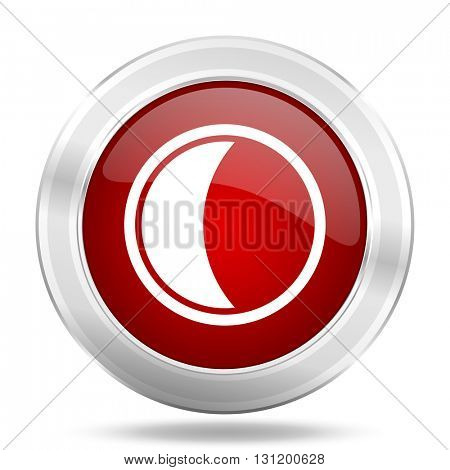 moon icon, red round metallic glossy button, web and mobile app design illustration