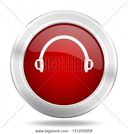 headphones icon, red round metallic glossy button, web and mobile app design illustration
