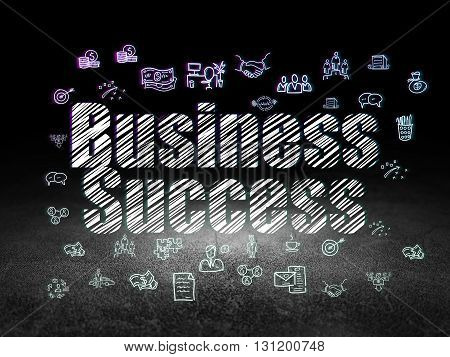Business concept: Glowing text Business Success,  Hand Drawn Business Icons in grunge dark room with Dirty Floor, black background