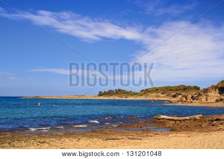 Summer seascape: a nature reserve of Torre Guaceto.BRINDISI (Apulia)-ITALY-Mediterranean maquis: a nature sanctuary between the land and the sea.