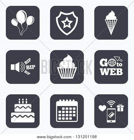 Mobile payments, wifi and calendar icons. Birthday party icons. Cake with ice cream signs. Air balloons with rope symbol. Go to web symbol.