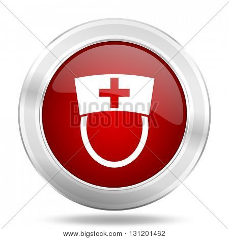 nurse icon, red round metallic glossy button, web and mobile app design illustration
