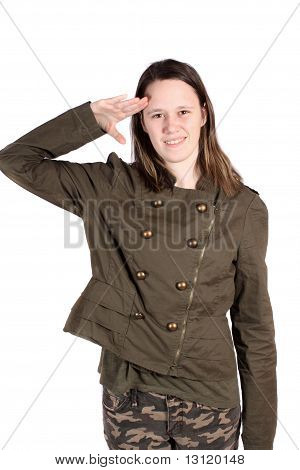 Young Woman Giving Salute