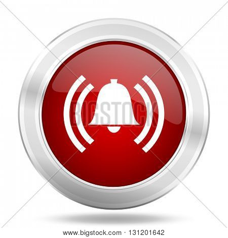 alarm icon, red round metallic glossy button, web and mobile app design illustration