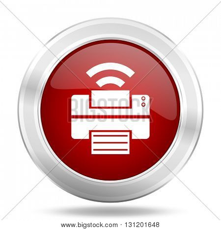 printer icon, red round metallic glossy button, web and mobile app design illustration