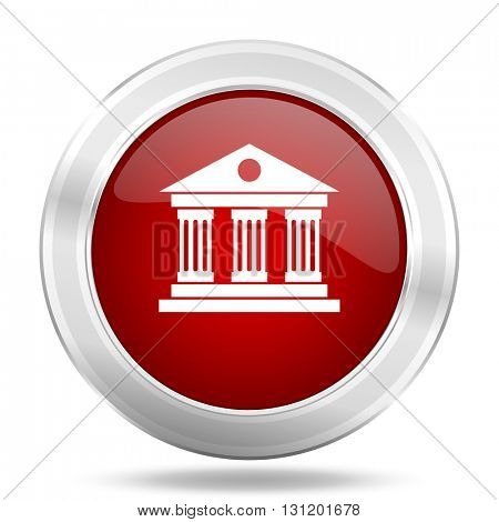 museum icon, red round metallic glossy button, web and mobile app design illustration