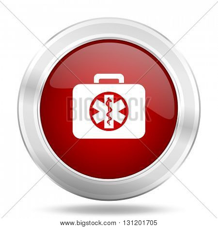 rescue kit icon, red round metallic glossy button, web and mobile app design illustration