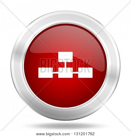 database icon, red round metallic glossy button, web and mobile app design illustration