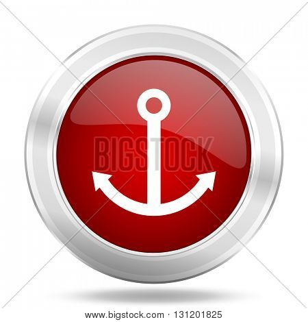 anchor icon, red round metallic glossy button, web and mobile app design illustration