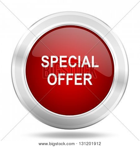 special offer icon, red round metallic glossy button, web and mobile app design illustration