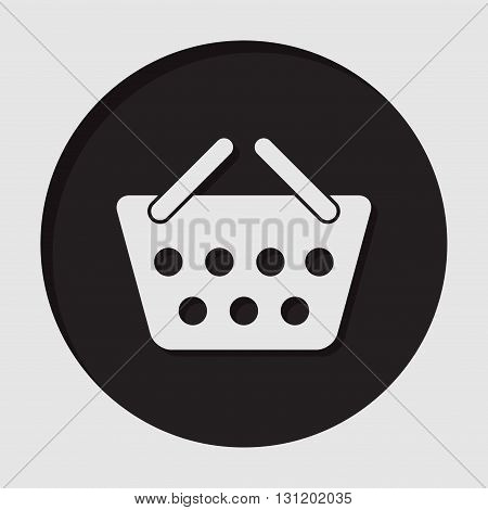 information icon - dark circle with white shopping basket and shadow