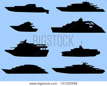 The silhouettes of the boats. 8 pieces