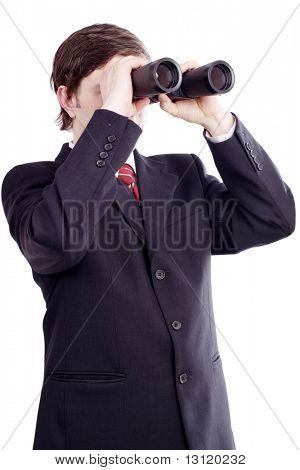 A portrait of a seeking businessman. Shot in studio.