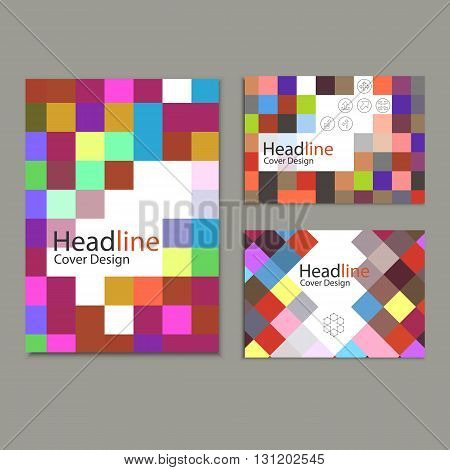 Brochure template design with squares and rectangles.