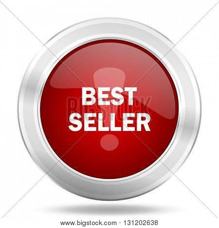 best seller icon, red round metallic glossy button, web and mobile app design illustration