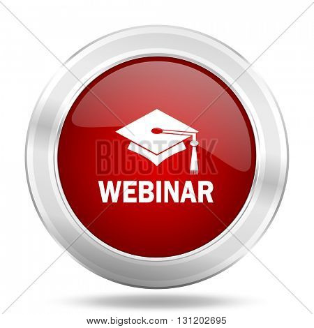 webinar icon, red round metallic glossy button, web and mobile app design illustration