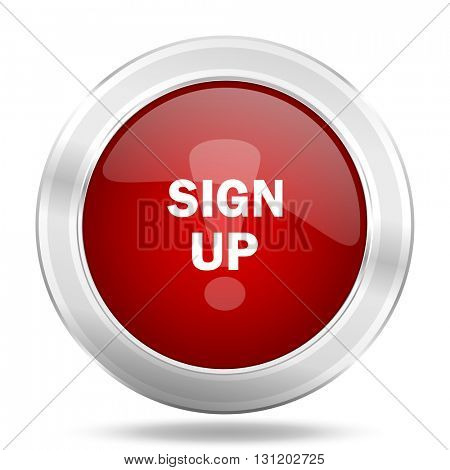 sign up icon, red round metallic glossy button, web and mobile app design illustration