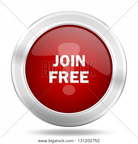 join free icon, red round metallic glossy button, web and mobile app design illustration