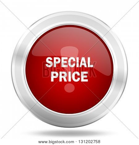 special price icon, red round metallic glossy button, web and mobile app design illustration