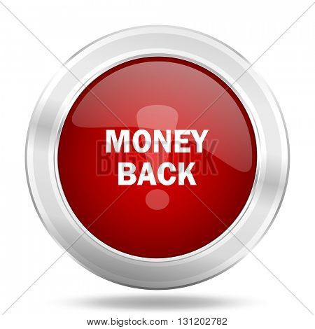 money back icon, red round metallic glossy button, web and mobile app design illustration