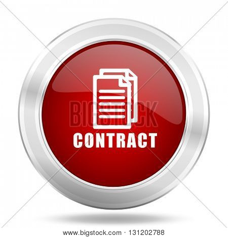 contract icon, red round metallic glossy button, web and mobile app design illustration