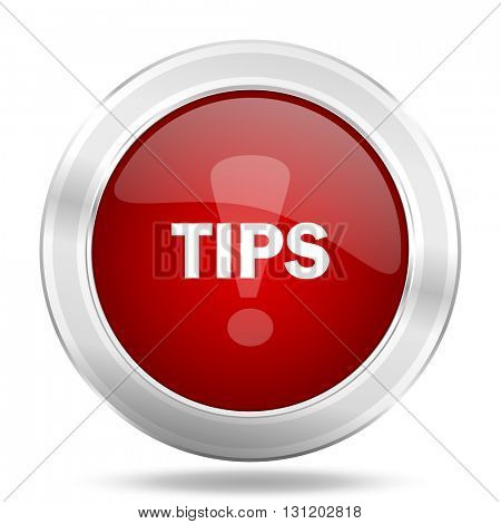 tips icon, red round metallic glossy button, web and mobile app design illustration