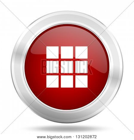 thumbnails grid icon, red round metallic glossy button, web and mobile app design illustration