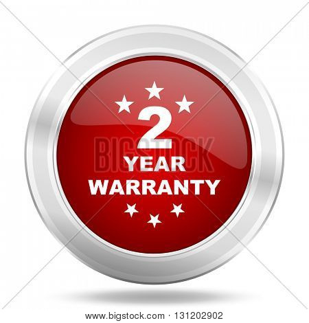 warranty guarantee 2 year icon, red round metallic glossy button, web and mobile app design illustration