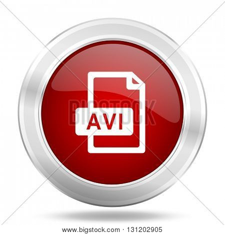 avi file icon, red round metallic glossy button, web and mobile app design illustration