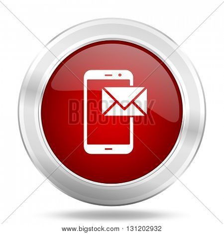 mail icon, red round metallic glossy button, web and mobile app design illustration
