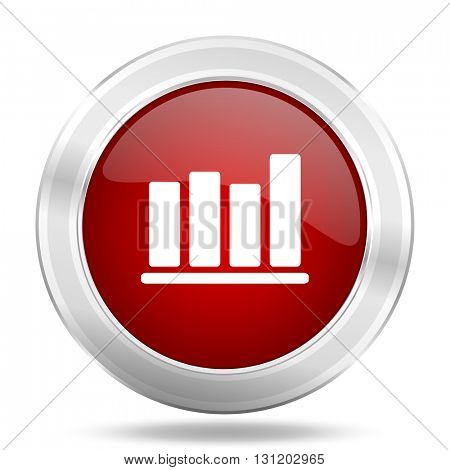 bar chart icon, red round metallic glossy button, web and mobile app design illustration