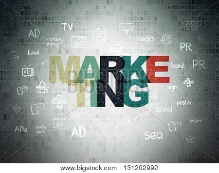 Advertising concept: Painted multicolor text Marketing on Digital Data Paper background with  Hand Drawn Marketing Icons
