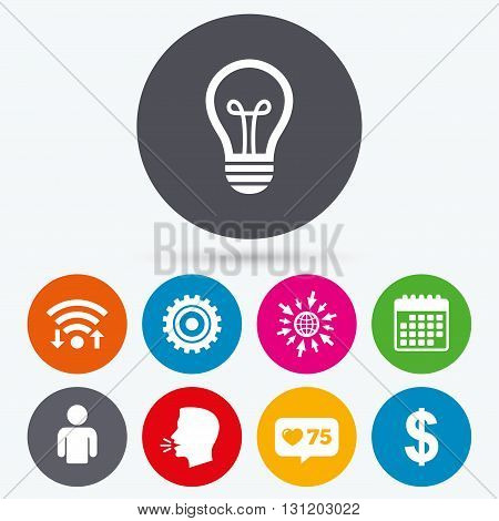Wifi, like counter and calendar icons. Business icons. Human silhouette and lamp bulb idea signs. Dollar currency and gear symbols. Human talk, go to web.