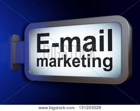 Advertising concept: E-mail Marketing on advertising billboard background, 3D rendering