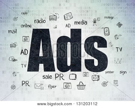 Marketing concept: Painted black text Ads on Digital Data Paper background with  Hand Drawn Marketing Icons