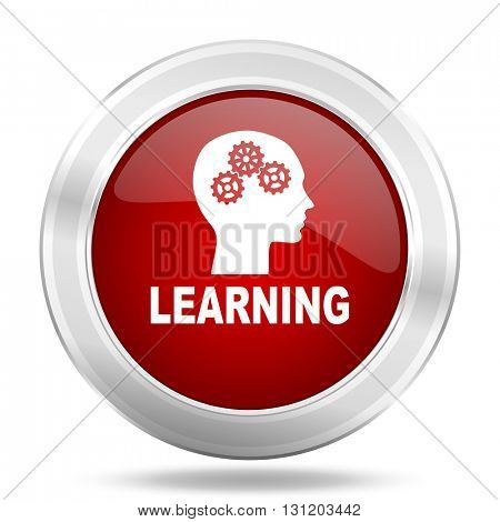 learning icon, red round metallic glossy button, web and mobile app design illustration