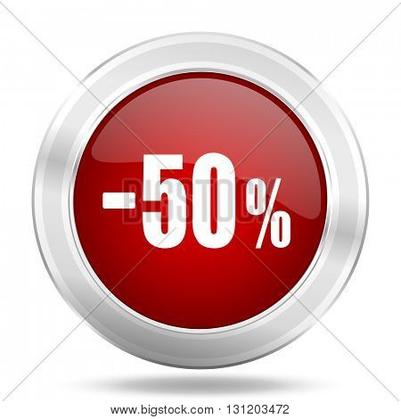 50 percent sale retail icon, red round metallic glossy button, web and mobile app design illustration