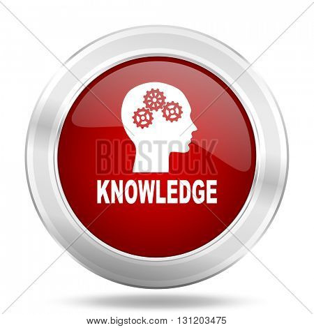 knowledge icon, red round metallic glossy button, web and mobile app design illustration