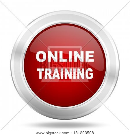 online training icon, red round metallic glossy button, web and mobile app design illustration