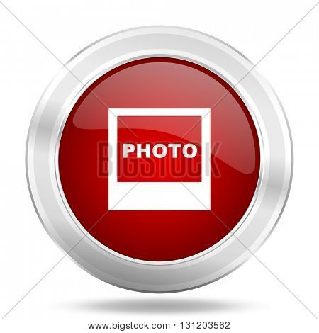photo icon, red round metallic glossy button, web and mobile app design illustration