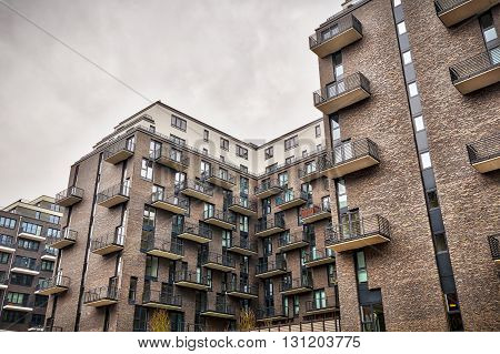 HDR shot of new build condominiums in Berlin Mitte
