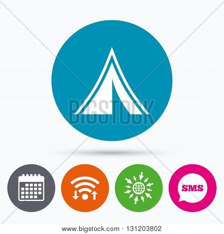 Wifi, Sms and calendar icons. Tourist tent sign icon. Camping symbol. Go to web globe.