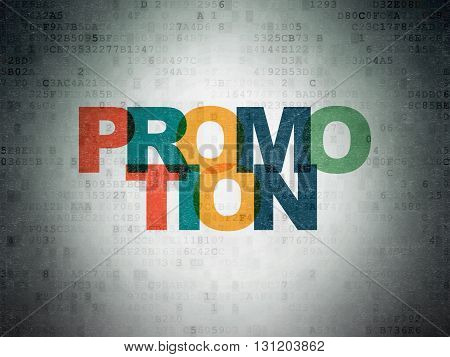 Marketing concept: Painted multicolor text Promotion on Digital Data Paper background